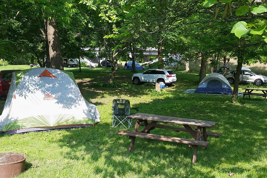 Tent sites picnic tables